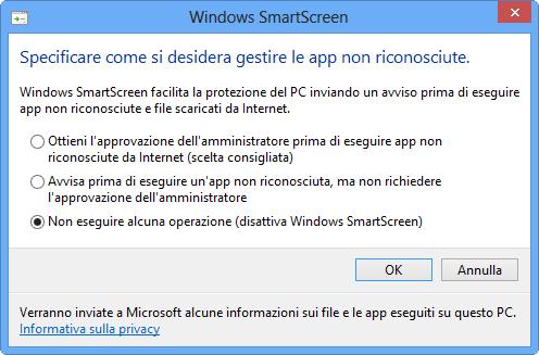 SmartScreenDisabilitare
