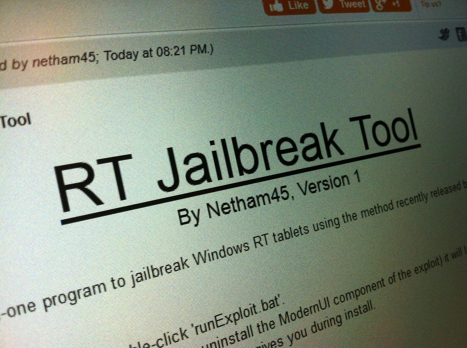 Rilasciata la prima versione del Jailbreak per Windows RT