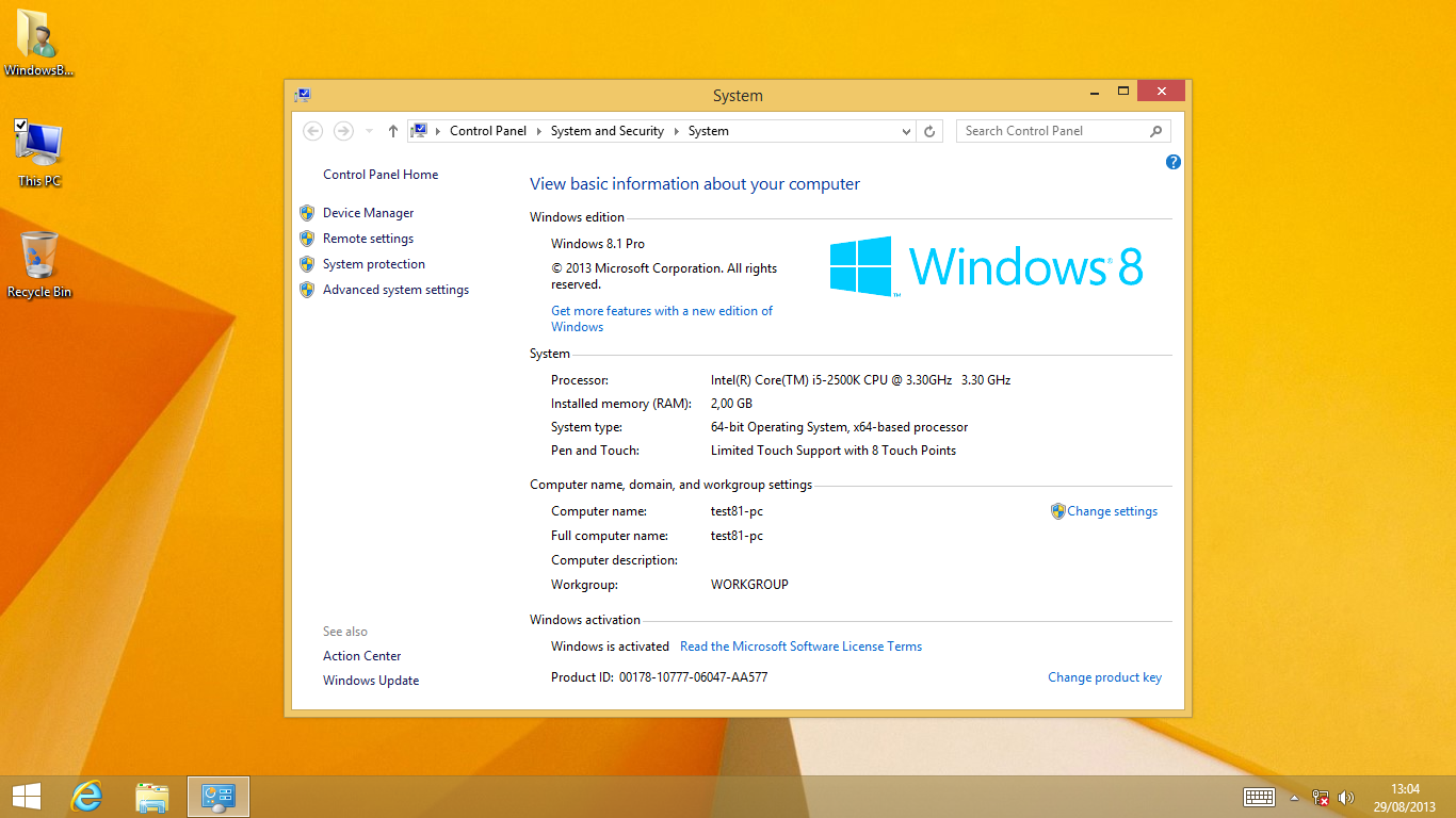 Product key to activate windows 8 1 pro build 9600 for Window 8 1 pro product key