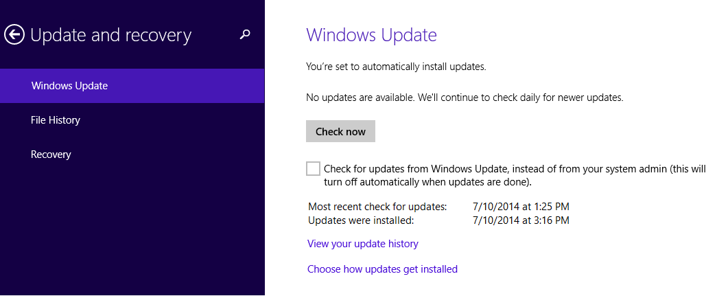 Windows Update aggiornamento agosto 2014
