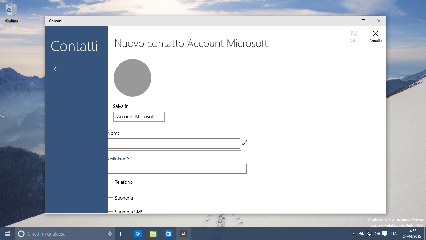 Windows 10 Contatti