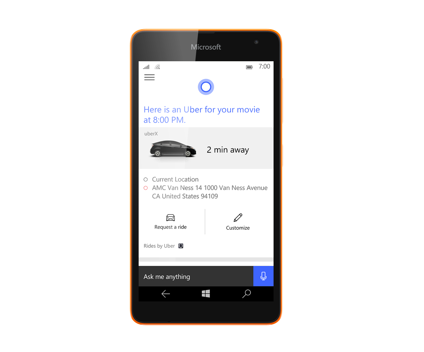 Uber Windows 10 Windows 10 Mobile Cortana