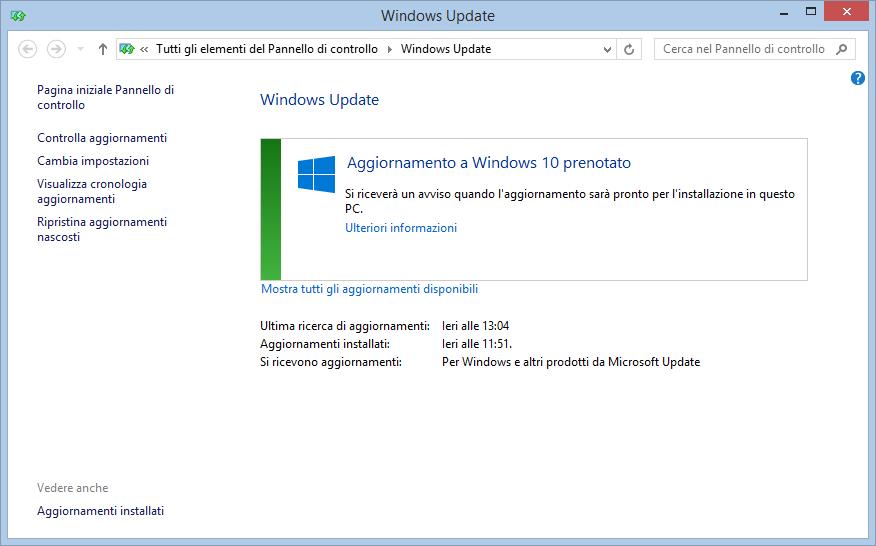 Prenotazione Windows 10