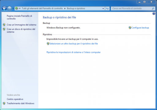 Backup e ripristino Windows 7