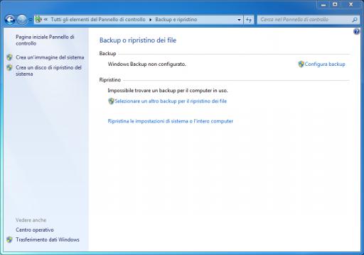 Backup e ripristino Windows 7