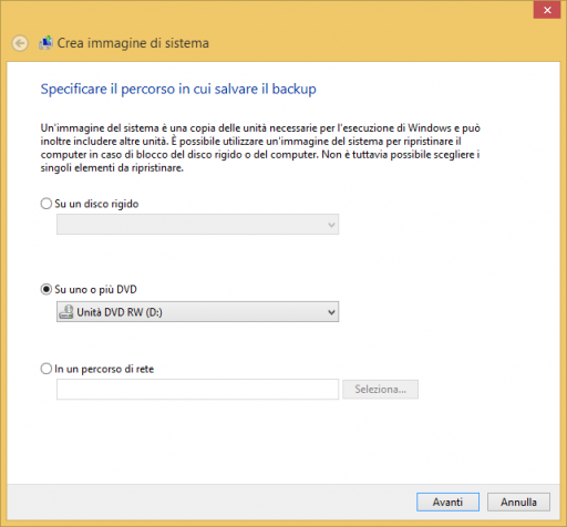 Crea immagine di sistema Windows 8