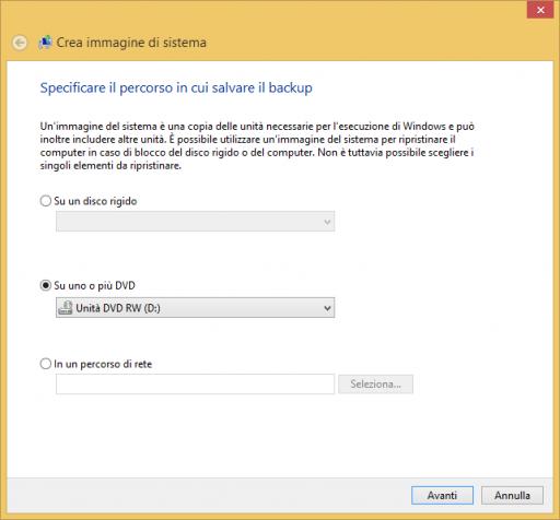 Crea immagine di sistema Windows 8