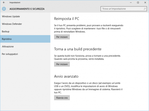 Reimposta il PC Windows 10