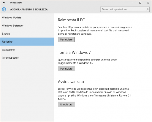 Versione Precedente Windows 10