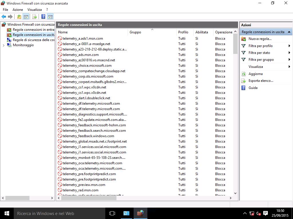 Bloccare l'invio dei dati con Windows Firewall