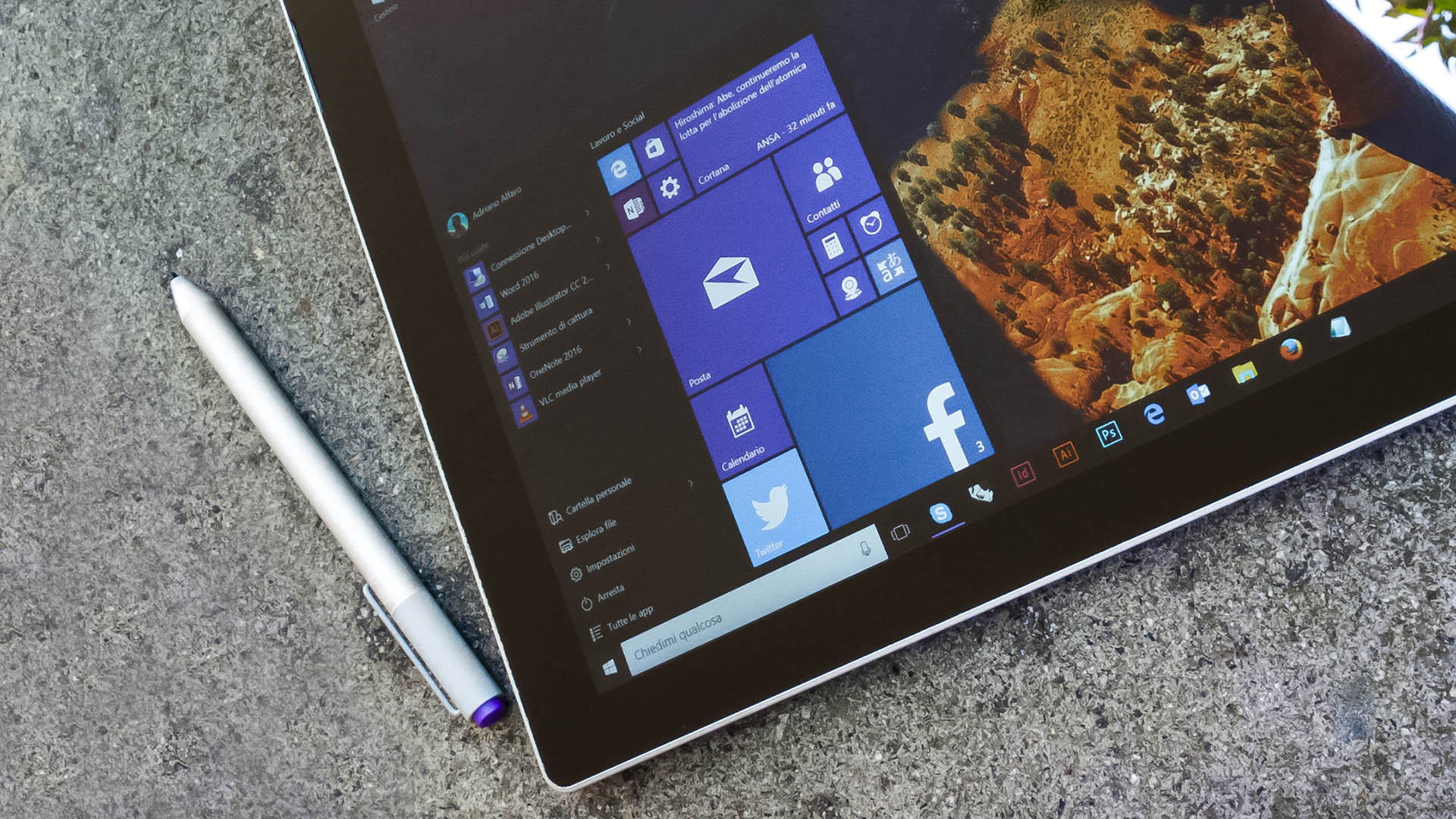 Windows 10 Start menu Surface Pro 3 penna