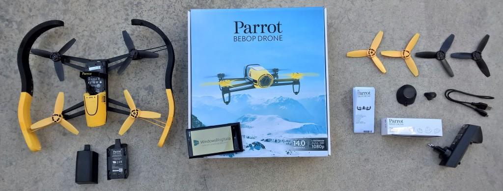 Confezione e componenti Parrot Bebop Drone