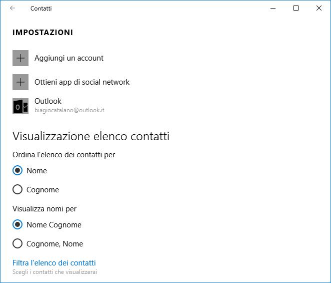 Importare i contatti nell'app Contatti di Windows 10 - 1