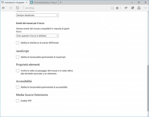 Impostazioni sviluppatori Microsoft Edge 10547