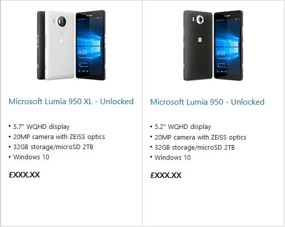 Lumia 950 e Lumia 950XL sullo Store Microsoft