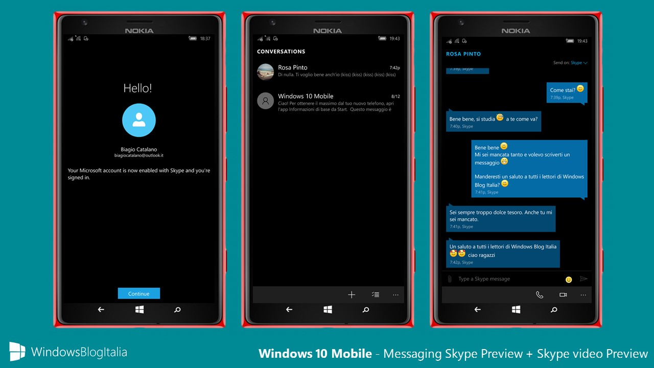 Messaging Skype Preview + Skype video Preview