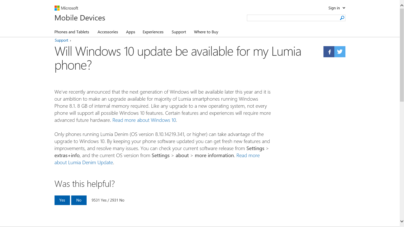 Niente update a Windows 10 Mobile per i Lumia con 4GB di storage