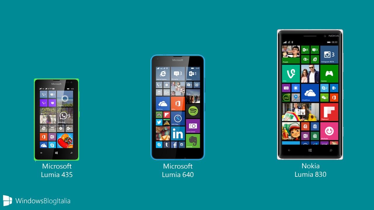 Offerta Lumia 435, Lumia 640, Lumia 830