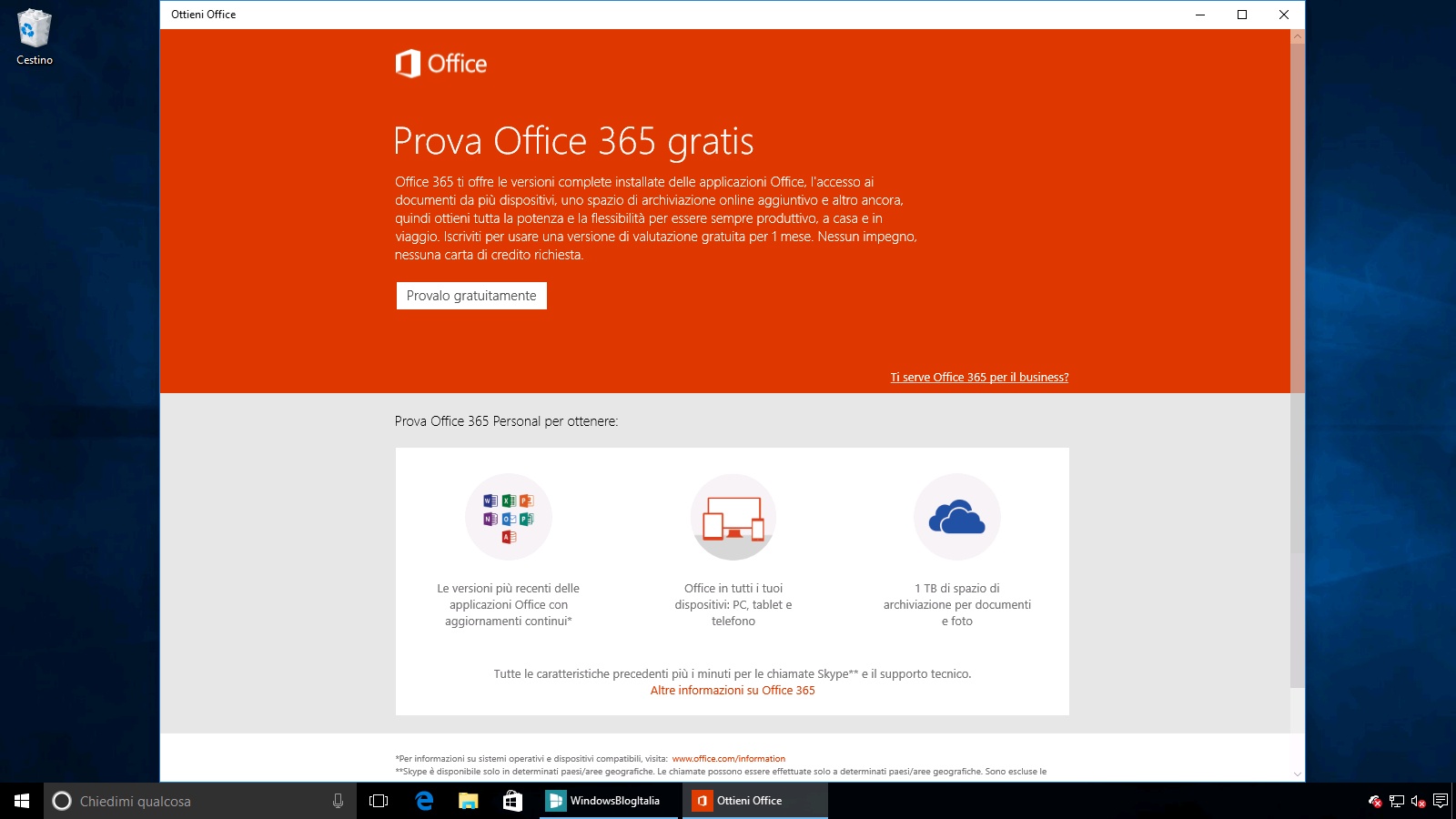 Ottieni Office Windows 10