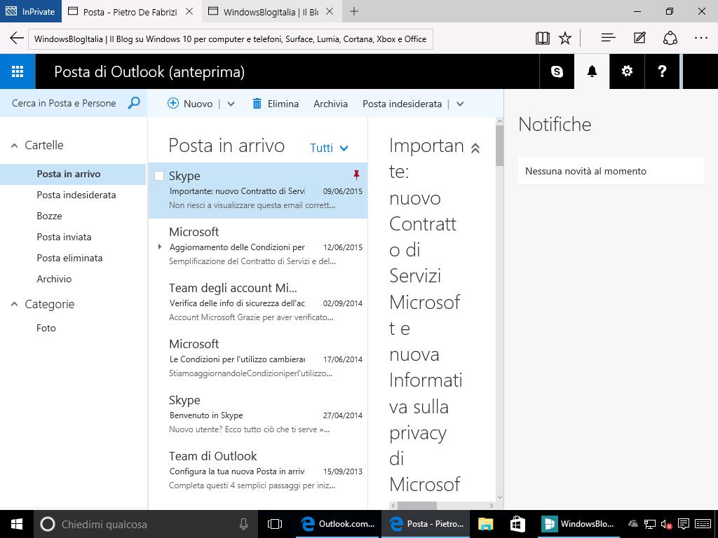 Outlook.com notifiche