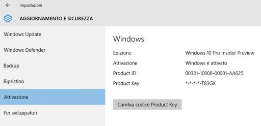 Product ID e Product key Windows 10 10547