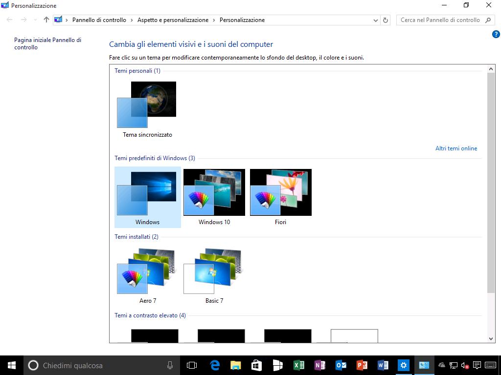 Cambia gli elementi visivi e i suoni del computer - Windows 10