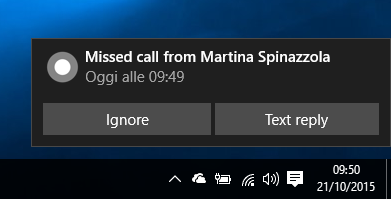 Chiamata persa Cortana Windows 10