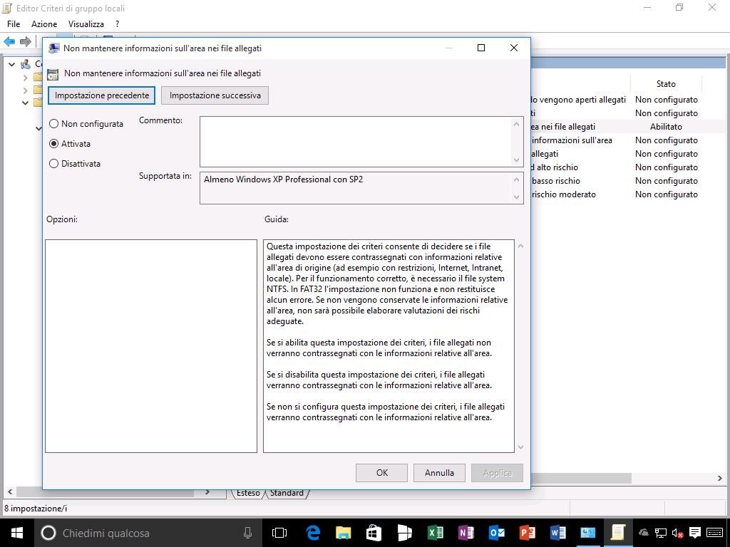 Editor Criteri di gruppo locali - Non mantenere informazioni sull'area nei file allegati - Windows 10