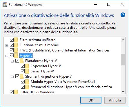 Funzionalita Windows - Hyper-V