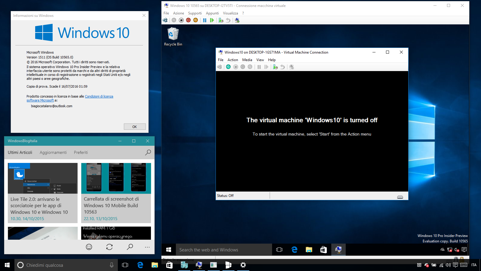 Hyper-V Windows 10 10565