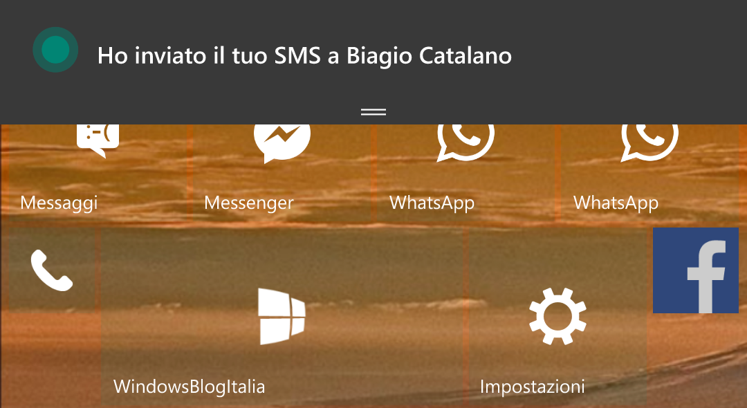 Invio SMS Windows 10 Mobile