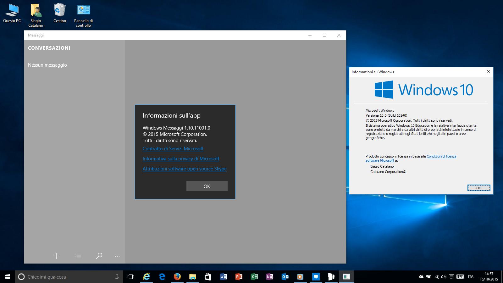 Microsoft Messaggi Windows 10 RTM