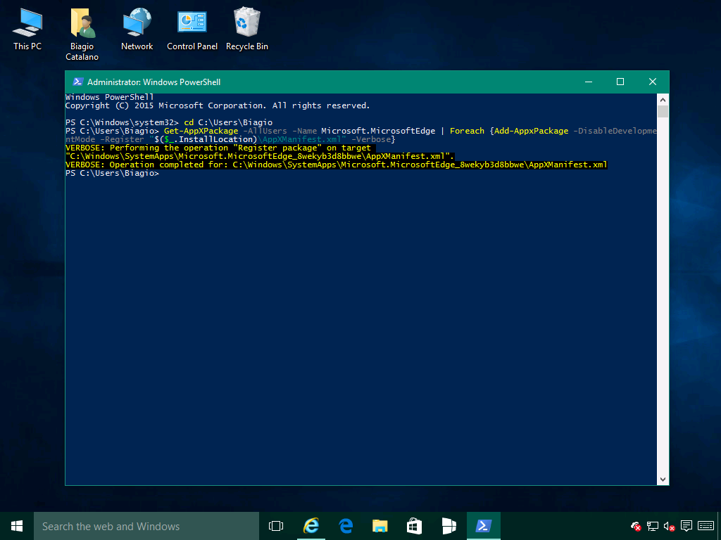 RipristinareMicrosoftEdge3 - Windows 10