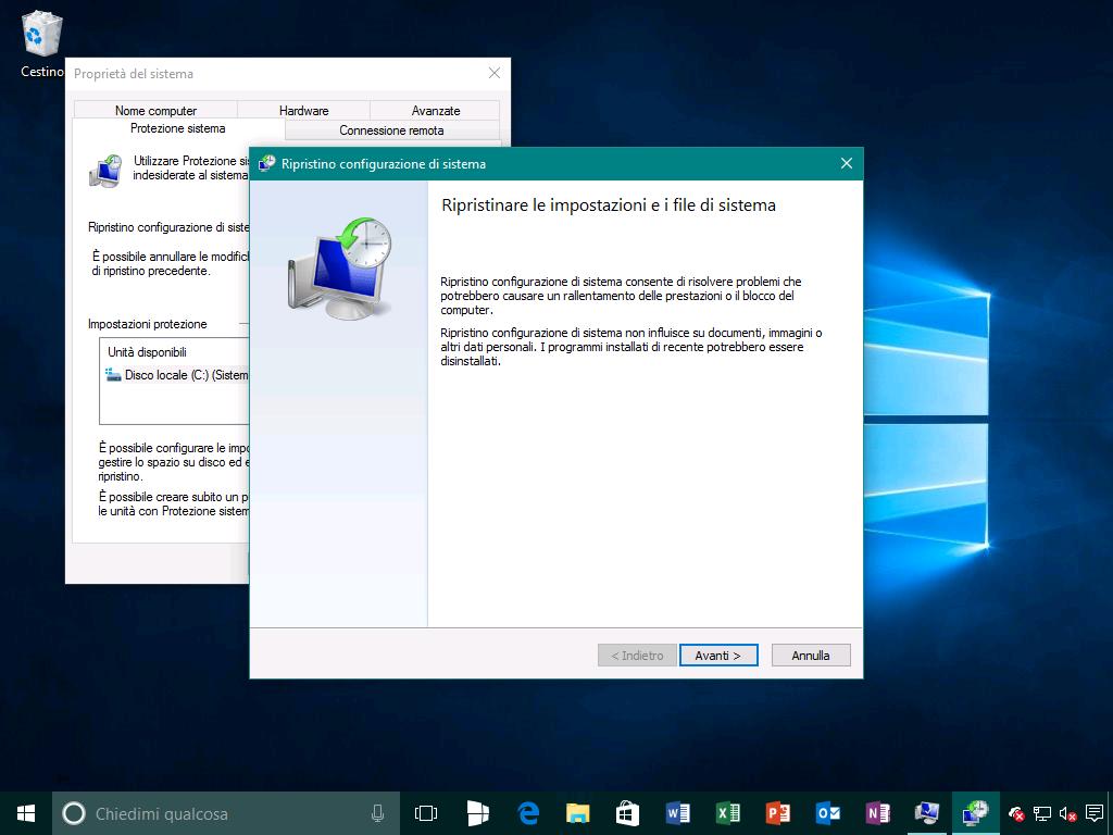 Ripristino configurazione di sistema 1 - Windows 10