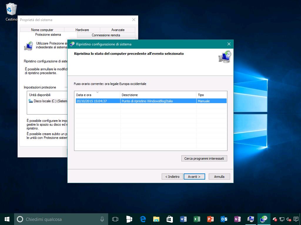 Ripristino configurazione di sistema 2 - Windows 10
