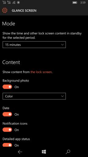 Schermata Glance - Lumia 950 e Lumia 950XL