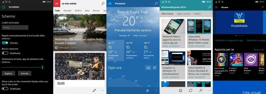 Schermo 300 - Windows 10 Mobile 10549
