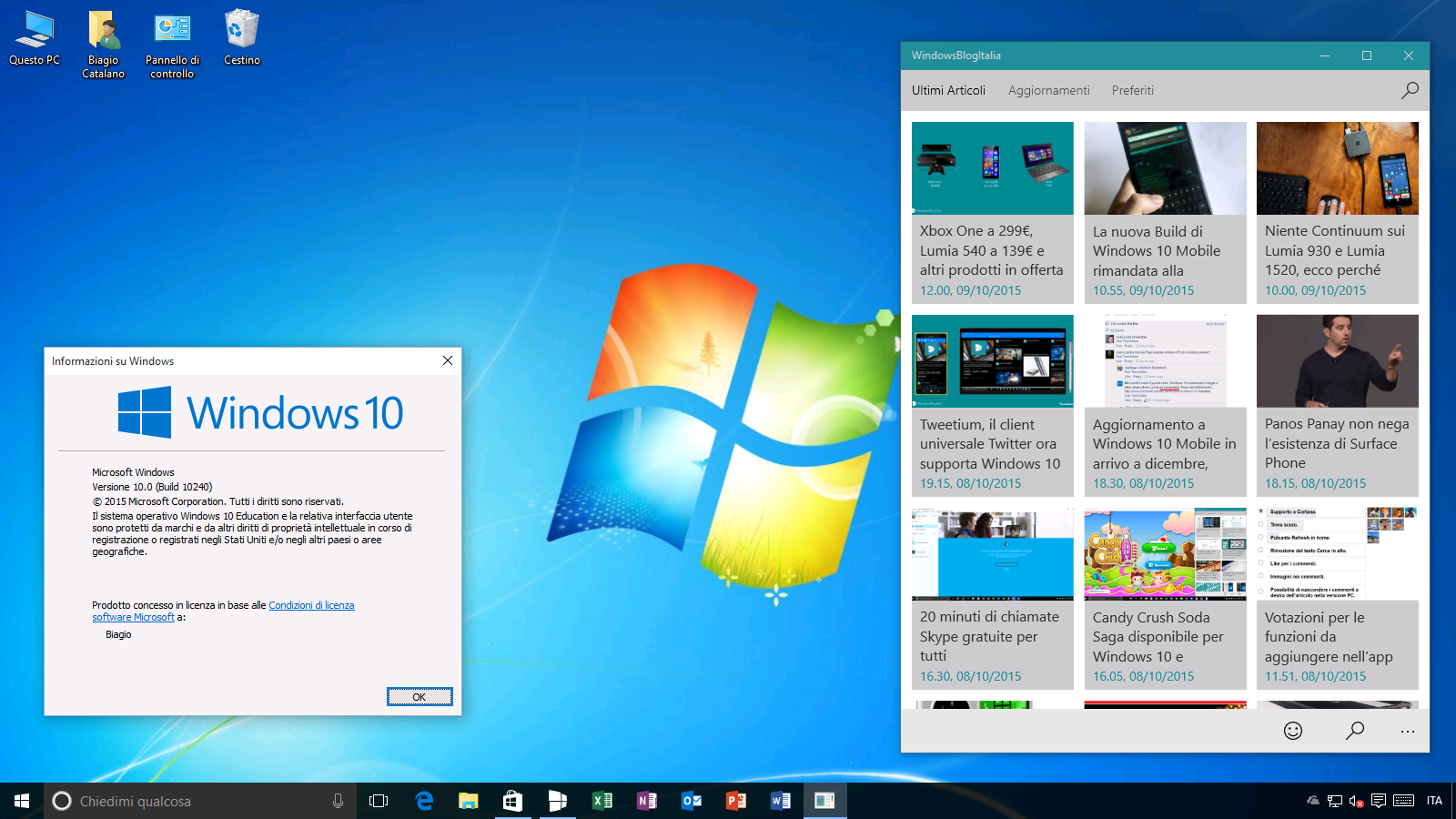 Tema Windows 7 su Windows 10 10240