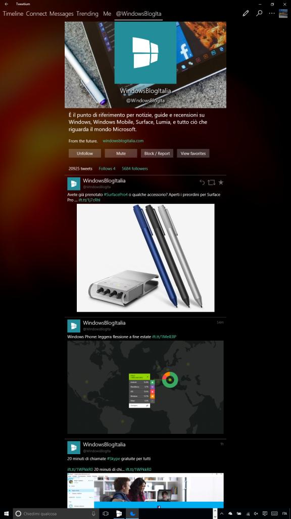 Tweetium e la modalita verticale