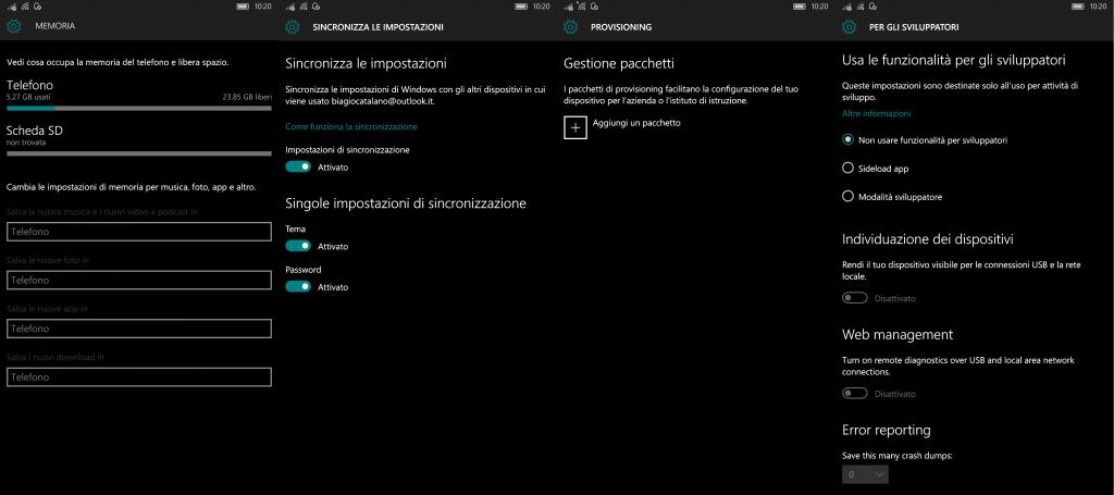 Windows 10 Mobile Build 10549 - Impostazioni