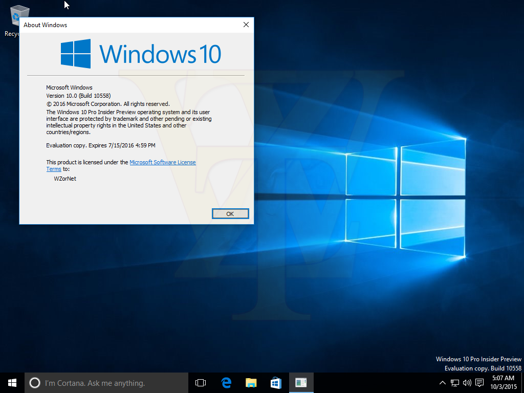 Windows 10 Pro Insider Preview - 10558