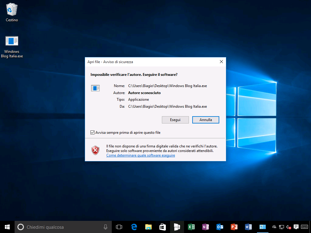 Windows SmartScreen disabilitato - Windows 10