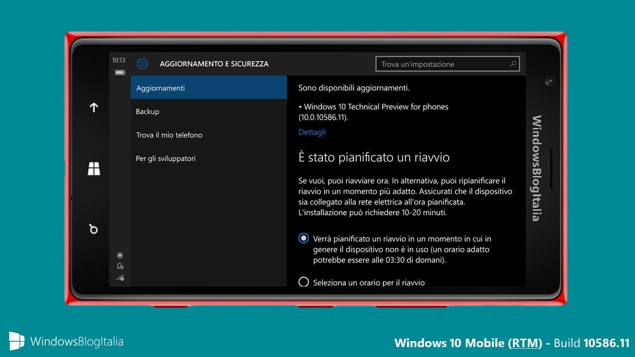 Articolo rilascio - Windows 10 Mobile 10586