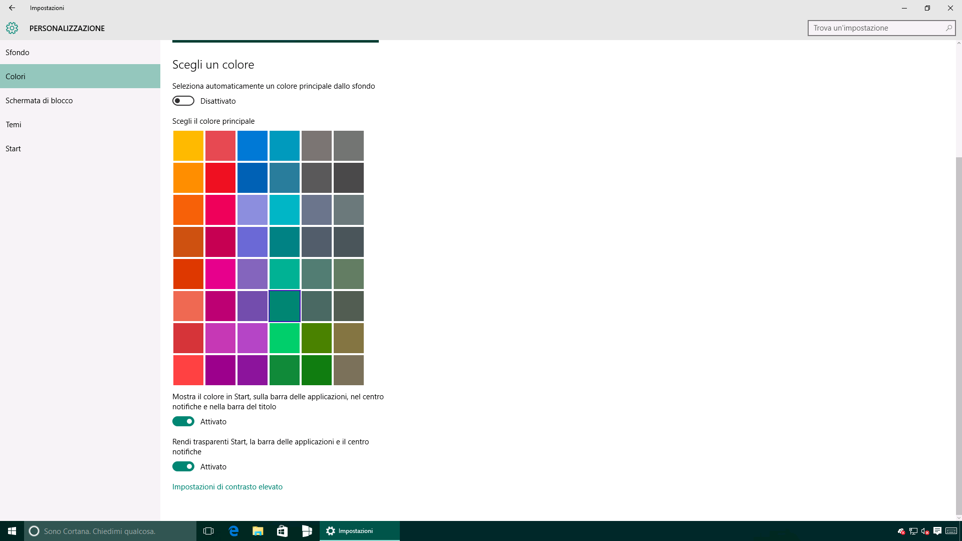 Colore - Accent color - Windows 10