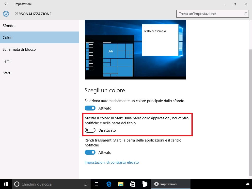 Disattivare colore in Start, taskbar e barra del titolo