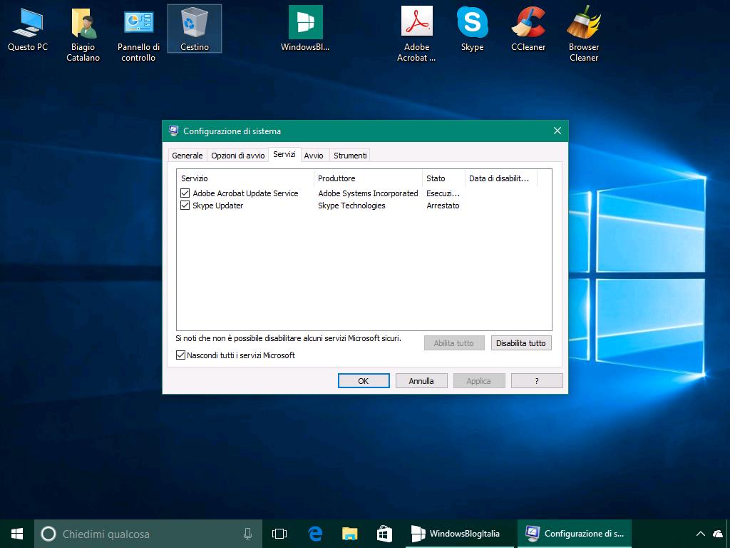 Disattivare i servizi - Windows 10