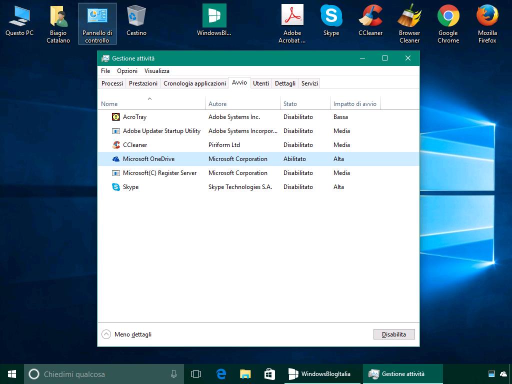Disattivare programmi all'avvio - Windows 10