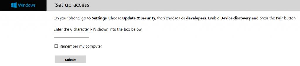 Indirizzo portale dispositivi Windows 10 Mobile