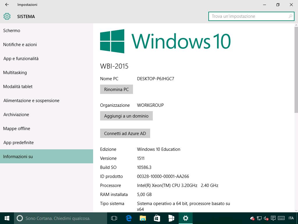 Informazioni su - Windows 10 10586.3