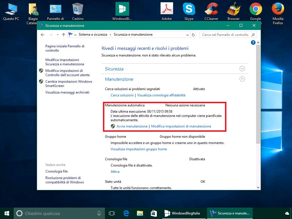 Manutenzione - Windows 10